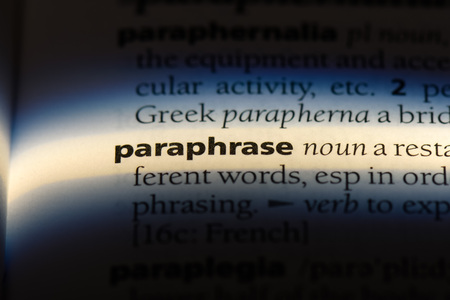 paraphrase word in a dictionary. paraphrase concept.
