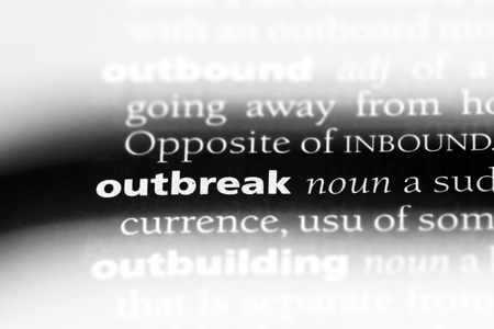 outbreak word in a dictionary. outbreak concept.