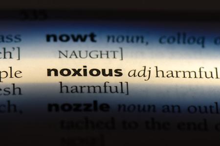 noxious word in a dictionary. noxious concept.