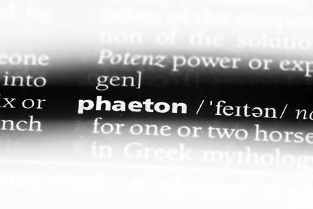 phaeton word in a dictionary. phaeton concept.