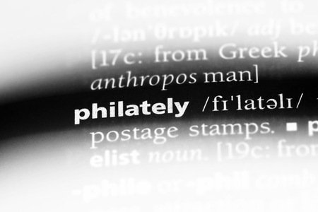 philately word in a dictionary. philately concept.