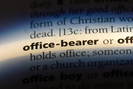 office bearer word in a dictionary. office bearer concept.