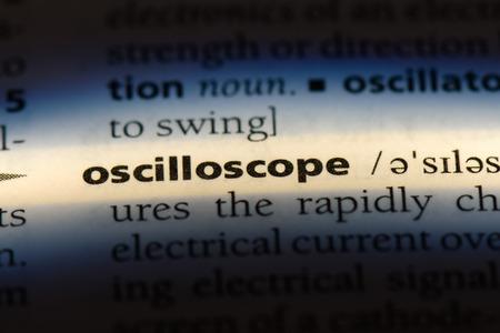 oscilloscope word in a dictionary. oscilloscope concept. Stock Photo