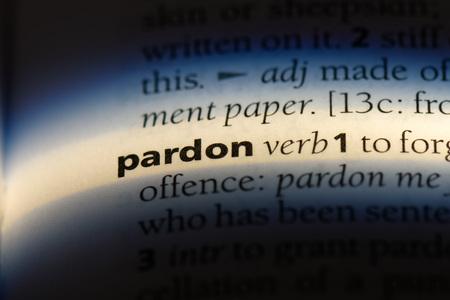 pardon word in a dictionary. pardon concept.