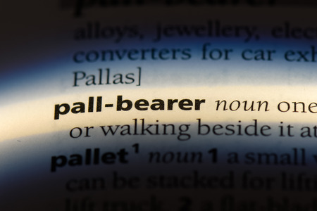 pall bearer word in a dictionary. pall bearer concept. Фото со стока