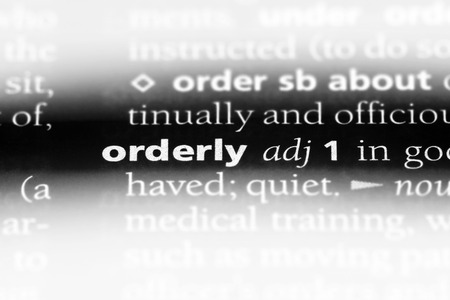 orderly word in a dictionary. orderly concept.