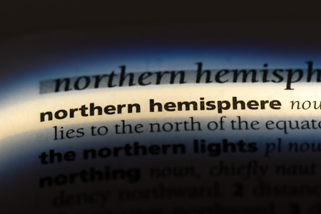 northern hemisphere word in a dictionary. northern hemisphere concept.