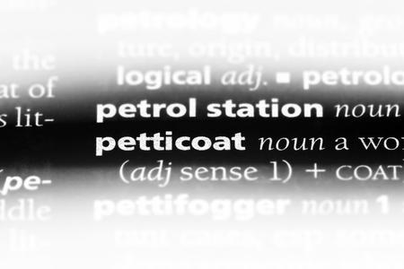 petticoat word in a dictionary. petticoat concept.
