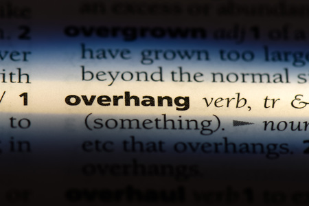 overhang word in a dictionary. overhang concept.