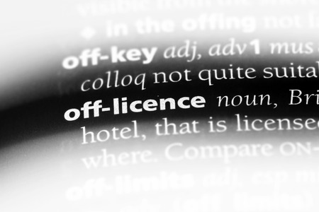 off licence word in a dictionary. off licence concept.