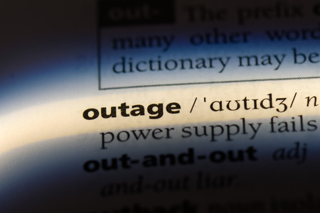 outage word in a dictionary. outage concept.