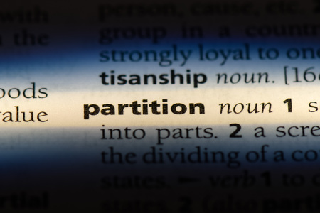 partition word in a dictionary. partition concept.