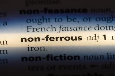 non ferrous word in a dictionary. non ferrous concept. Stok Fotoğraf