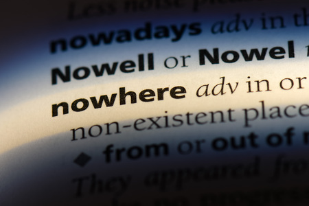 nowhere word in a dictionary. nowhere concept.