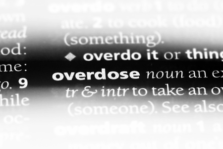 overdose word in a dictionary. overdose concept.