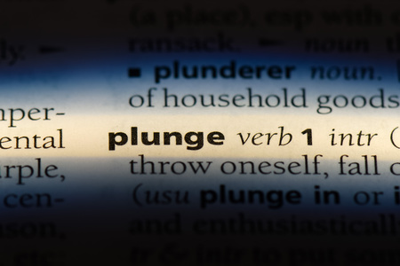 plunge word in a dictionary. plunge concept.