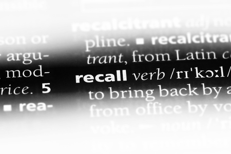 recall word in a dictionary. recall concept.