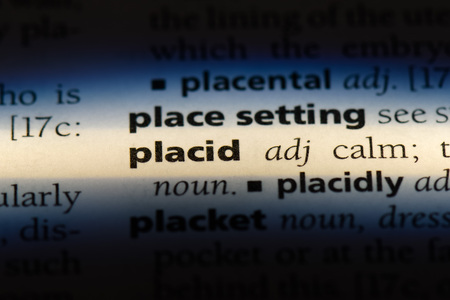placid word in a dictionary. placid concept. Stock Photo