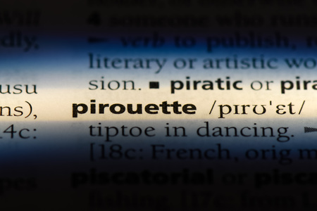 pirouette word in a dictionary. pirouette concept.