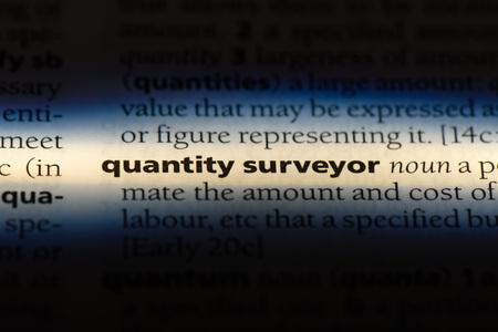 quantity surveyor word in a dictionary. quantity surveyor concept.
