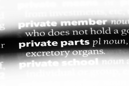 private parts word in a dictionary. private parts concept.