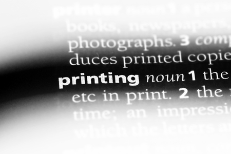 printing word in a dictionary. printing concept.