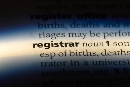 registrar word in a dictionary. registrar concept. Фото со стока