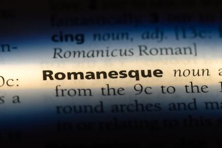 romanesque word in a dictionary. romanesque concept. Stock Photo
