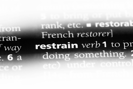 restrain word in a dictionary. restrain concept.
