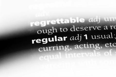 regular word in a dictionary. regular concept.