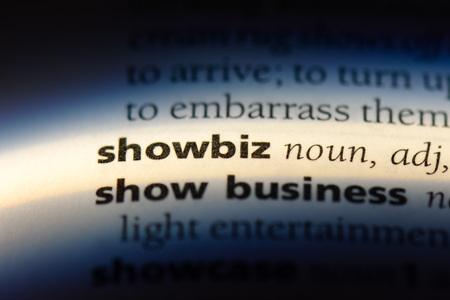 showbiz word in a dictionary. showbiz concept.