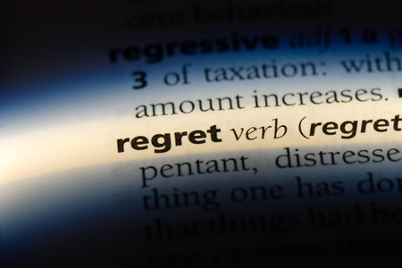 regret word in a dictionary. regret concept. Stock Photo