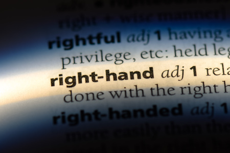 right hand word in a dictionary. right hand concept.