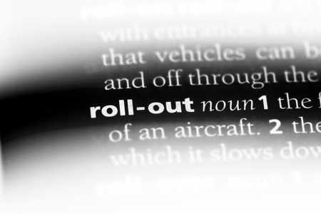 roll out word in a dictionary. roll out concept. Stok Fotoğraf
