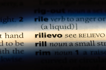 rilievo word in a dictionary. rilievo concept. 写真素材 - 107798246
