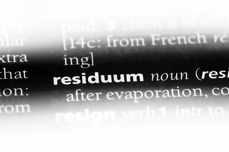 residuum word in a dictionary. residuum concept.
