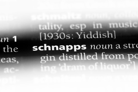 Schnapswort in einem Wörterbuch. Schnapskonzept. Standard-Bild