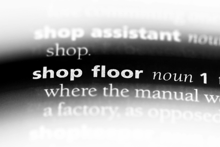 shop floor word in a dictionary. shop floor concept. Stok Fotoğraf