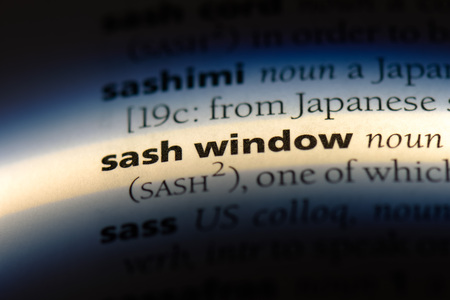 sash window word in a dictionary. sash window concept.