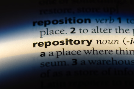 repository word in a dictionary. repository concept. Stok Fotoğraf