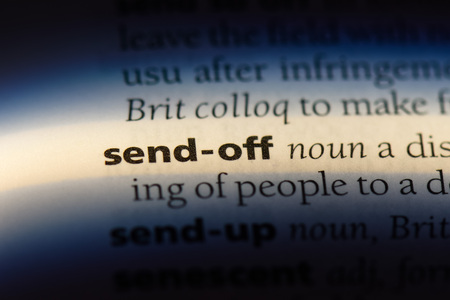 send off word in a dictionary. send off concept.