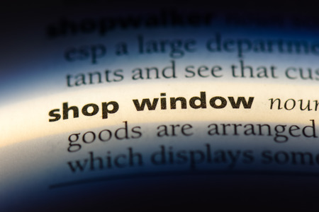 shop window word in a dictionary. shop window concept.