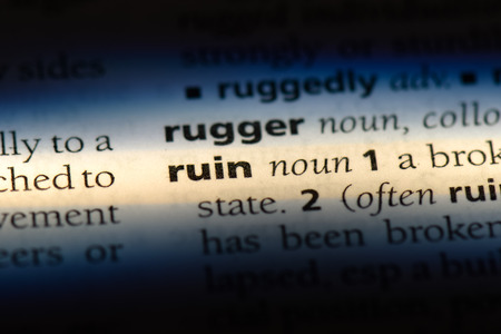 ruin word in a dictionary. ruin concept.
