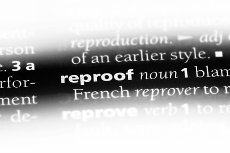 reproof word in a dictionary. reproof concept. Stok Fotoğraf