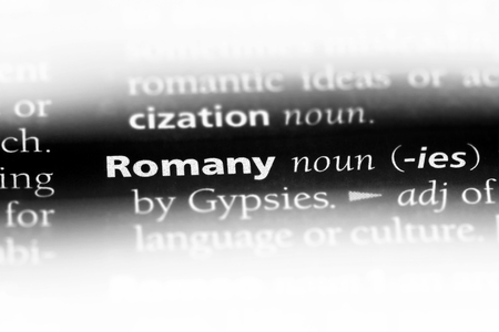 romany word in a dictionary. romany concept.