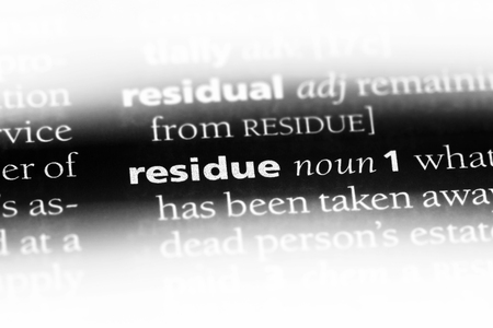 residue word in a dictionary. residue concept.