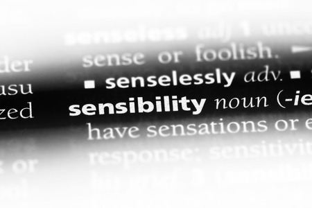 sensibility word in a dictionary. sensibility concept.