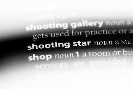 shooting star word in a dictionary. shooting star concept.
