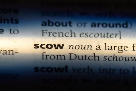 scow word in a dictionary. scow concept. Archivio Fotografico