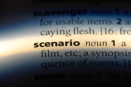 scenario word in a dictionary. scenario concept.